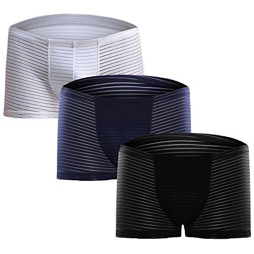 Litthing Herren EIS-Seide Lace Mesh Boxershorts U konvex Dreidimensionales Design Transparente Atmungsaktive Unterhose 1 Schwarz + 1 Dunkelblau + 1 Weiß (2XL)
