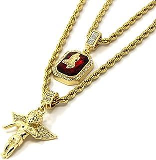 Mens Gold Angel & P Ruby Bundle Set Cz Pendant Hip Hop...