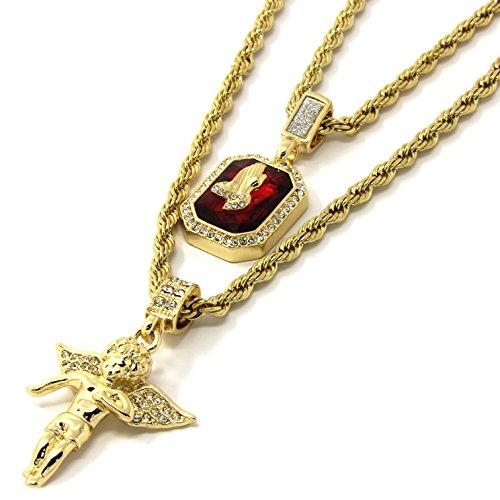 """Jewel Town Mens Gold Angel & P Ruby Bundle Set Cz Pendant Hip Hop 24"""" & 30"""" Rope Chain D463"""