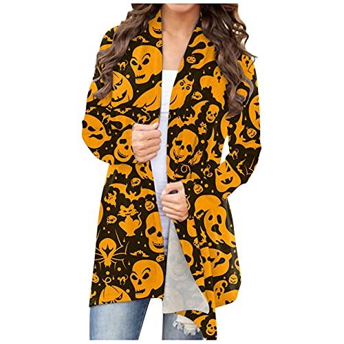 NHNKB Cárdigan largo para mujer, disfraz de Halloween, chaqueta fina, con parte frontal abierta, chaqueta larga, bolero, sudadera, chaqueta de hombro, camiseta informal, E gris., S