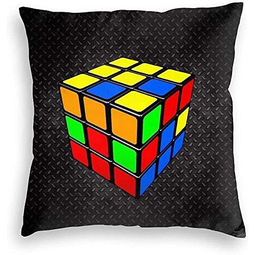 Not Applicable Fundas de cojín - Cubo Rubik Funda de Almohada de Terciopelo Suave Funda de cojín Estampada de Doble Cara Funda de Almohada 45 * 45 cm