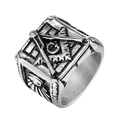 7 To 12 Size Men's Vintage Masonic Rings, Stainless Steel Freemason Master Mason Signet Hip Hop Rock Band Amulet Jewelry, Party Prom Gift Personality Ring,Silver,12
