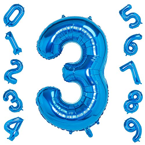 Blue 3 Balloons,40 Inch Birthday Foil Balloon Party Decorations Supplies Helium Mylar Digital Balloons (Blue Number 3)
