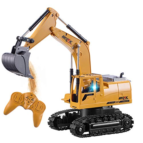 Tuptoel Remote Control Excavator Full Functional Construction Vehicle with Flashlights, 1/24 Scale Rechargeable RC Truck Excavator, Toys/Birthday Gifts for Boys Girls Toddlers