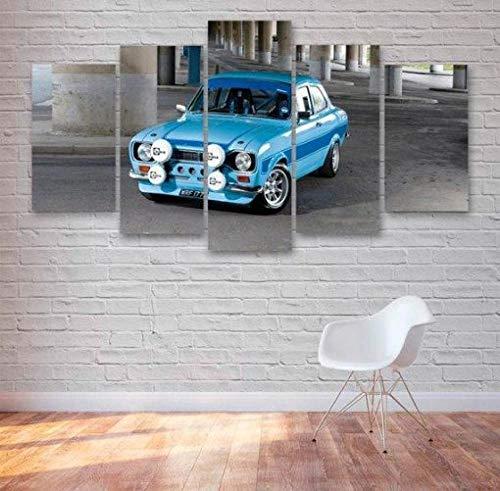 JIONGJIONG Cuadros Modernos Impresión De Imagen Artística Digitalizada   Lienzo Decorativo para Salón O Dormitorio 5 Piezas,150X80Cm,Escort Cosworth