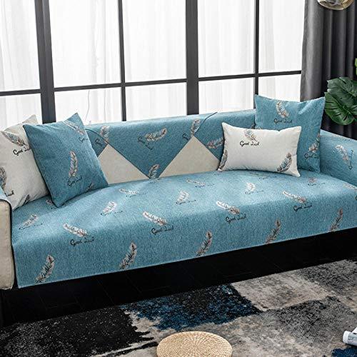 HXTSWGS Four Seasons Funda Universal para sofá Funda para sofá Funda para Asiento Cojín para Asiento Toalla de sofá Antideslizante Sala de Estar-Blue_45x45cm Funda de Almohada