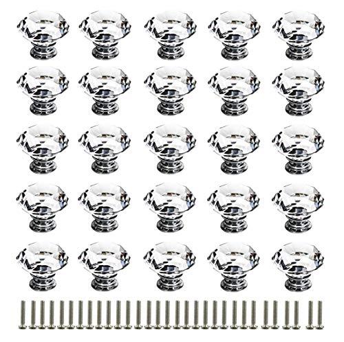 KAHEIGN 25Pcs Schubladenknöpfe Möbelknöpfe Kristall Türknöpfe, 30mm Schrankknöpfe Schrankgriffe Möbelgriffe Möbelknauf für Küche Büro Schrank Schubladen (mit 25-teiliger Schraube)