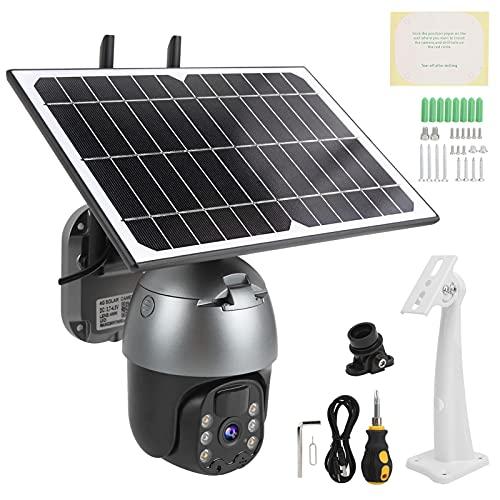 Jacksing Cámara Pan Tilt, cámara 4G a Prueba de Humedad con energía Solar para comunidades para estanques de Peces para Patios(Americas Band)