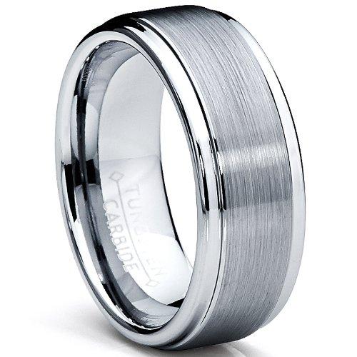 8MM High Polish/Matte Finish Men's Tungsten Ring Wedding Band Size 12