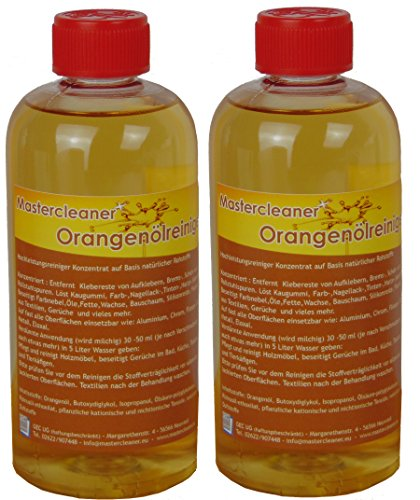 Mastercleaner Orangenölreiniger Konzentrat, Orangenreiniger auf Basis von natürlichem Orangenöl hochkonzentriert, Orangenreiniger 2 * 500ml Biologisch abbaubar