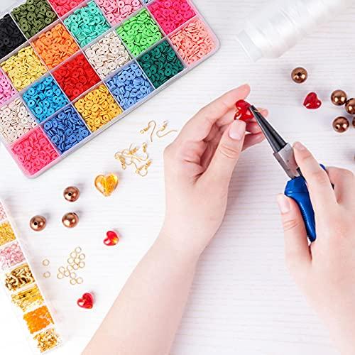 Cuentas de arcilla para pulsera, juego de perlas, Fimo, 4800 6 mm, pulseras DIY en 24 colores, perlas de cristal para pulseras, collares, bisutería, accesorios de joyería, ropa