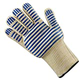 Guantes de horno 450  Guantes de aislamiento térmico de alta temperatura, guantes de l retardantes de llama de punto de doble capa, guantes industriales para horno microondas, sin deslizamiento de si