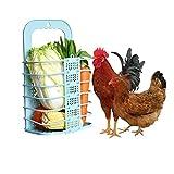 Chicken Vegetable Basket Chicken Veggie Ball Fruit Veggie Hanging Feeder Toy for Hens Chicken Coop Toys for Hens Blue