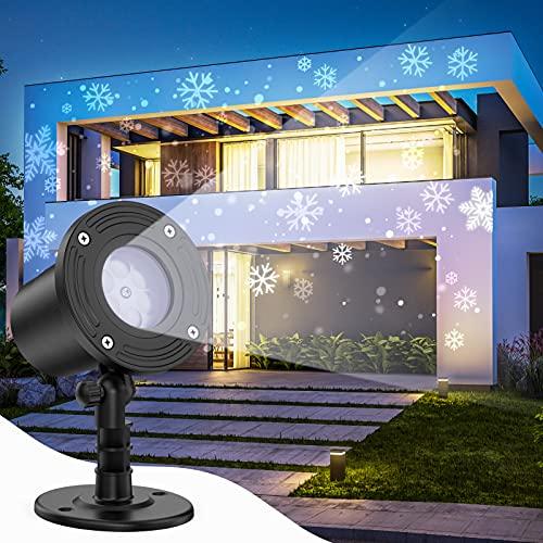 Projecteur Noël Exterieur, OxaOxe Projecteur Led Exterieur Noël Effet Chute de Neige, Flocon de Neige, Décoration de Noël Exterieur Imperméable IP65 Étanche, Illumination Noël Exterieur et Intérieur