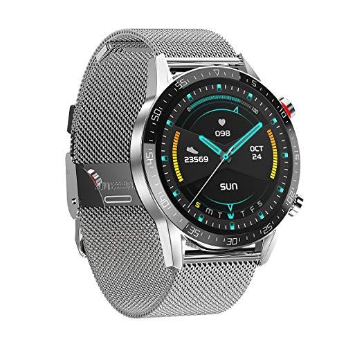 DASLING smartwatch 1.3 pulgadas control táctil pantalla de color reloj deportivo fitness reloj IP68 cronómetro impermeable con podómetro monitor de sueño 12 modos deportivos para mujeres hombres deportes (Plata)