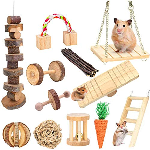 Supmaker Hamster Chew Toys, Pet Bunny Tooth Chew Toys Natural Wooden Guinea Pig Toys Accessories Dumbbells Exercise Bell Roller Teeth Care Molar Toy for Birds Bunny Rabbits Gerbils Rats Chinchillas