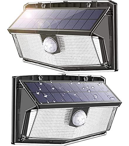 300 LED Solar Lights Outdoor, Super Bright with Motion Sensor and Higher Security, IP67 Waterproof, Easy-to-Install Wireless Solar Wall Light for Patio Yard Deck Garage Fence Pool, Cold White, 2 Pack