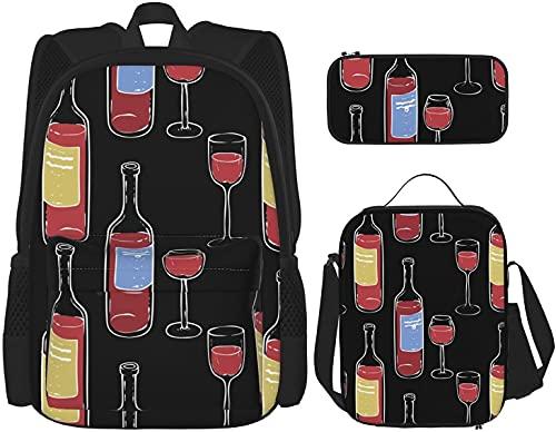 Mochila para copas de vino y botellas de vino, con bolsa de almuerzo y estuche de viaje