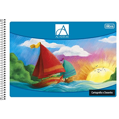 Caderno Espiral Capa Flexível Cartografia e Desenho Académie Feminino 48 Folhas,Tilibra - 1 un