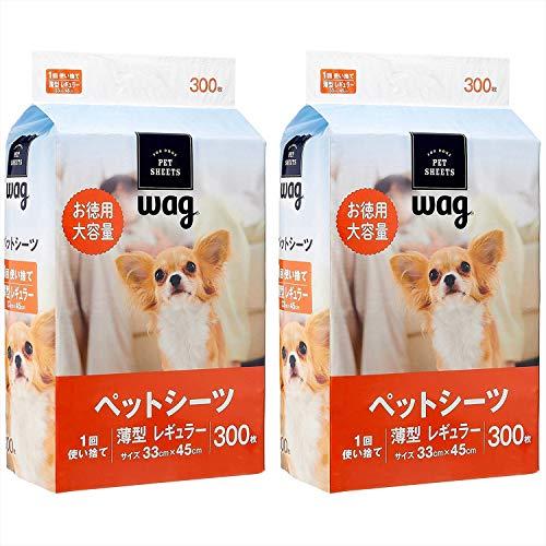 [Amazon Brand] Wag Pet Sheets, Thin, Regular, 1 Time, 300 Sheets x 2 (600 Sheets)