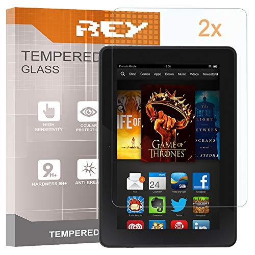 REY 2X Protector de Pantalla para Amazon Kindle Fire HDX 7, Cristal Vidrio Templado Premium, Táblet