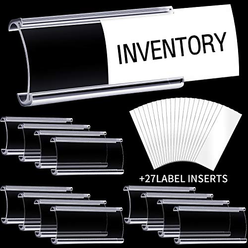 27 Piezas 3 x 1,25 Pulgadas Soporte de Etiqueta de Plástico Portaetiquetas de Estante de Alambre Expositor de Etiqueta Transparente y 27 Etiquetas para Tienda Minorista Mercado