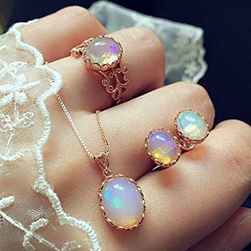 3pcs Elegant Transparent Gemstone Pendant Necklaces Earrings Rings Set...