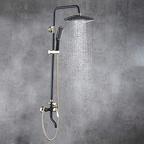 DZCGTP Ducha cromada Filtro de cerámica en la Pared Pintura de latón Ducha giratoria Baño Juego de Ducha de elevación de Cobre Negro Hermoso baño práctico
