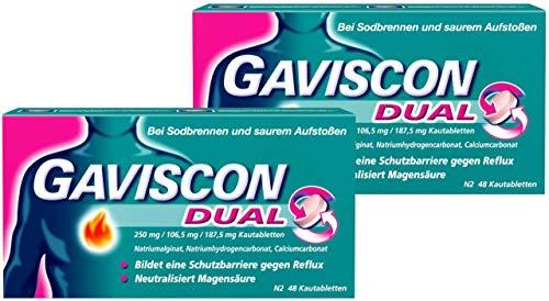 GAVISCON Dual 250 mg / 106,5 mg / 187,5 mg Kautabletten – Bei Sodbrennen und Magendruck – Wirkt bis zu 4 Stunden – Packung mit 2x48 Tabletten