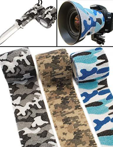 Outdoor Saxx® - Camouflage Tarn-Tape, Gewebe-Band wasserfest mehrfach verwendbar, Kamera, Ausrüstung, Jäger, Angler, Fotograf, 4.5m 3er Winter Set