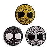 Set of 3 Yggdrasil Patch The Tree of Life in Norse Embroidered Badge Iron On Sew On Emblem Applique Gold White Black for DIY Costume Jeans Jackets Clothing Bags