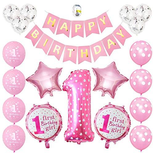 Gxhong 1. Geburtstag Dekorationen für Mädchen, Deko 1. Geburtstag Ballons, Erster Geburtstag Deko Mädchen Happy Birthday Banner Luftballons, Kindergeburtstag Luftballon 1. Geburtstag Deko
