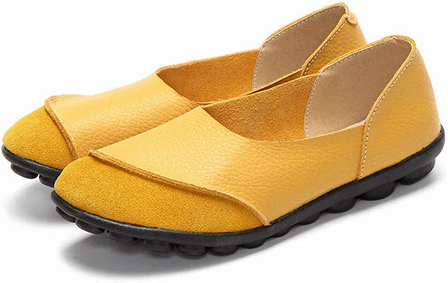 JOYBI Women Fashion Loafers Round Toe Soft Comfort Breathable Slip on Leather Casual Flat Driving shoes