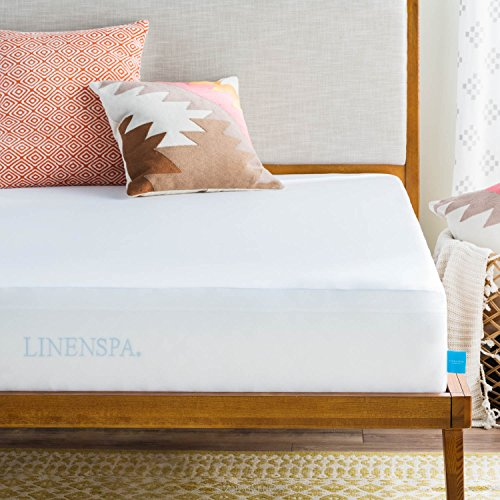 LINENSPA Premium Smooth Fabric Mattress Protector - 100% Waterproof - Hypoallergenic - Top Protection Only - Vinyl Free - Twin