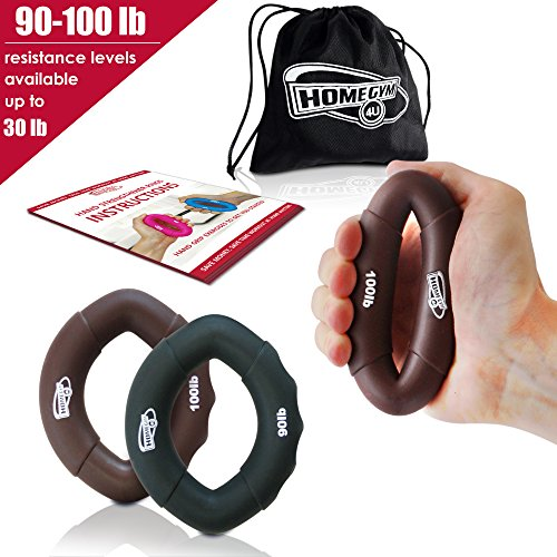 Grip Strength Trainer and Hand Strengthener - Hand Grip Strengthener and Grip Rings with 90-100lb Resistance - This Forearm Grip Workout is The Best Hand Exerciser Grip Strengthener for Carpal Tunnel