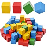1.5cm Wooden Cubes, 100pcs Coloured Wooden Blocks Embellishments Wooden Squares for Crafts, Math, Puzzle Making & DIY Projects - Assorted Color