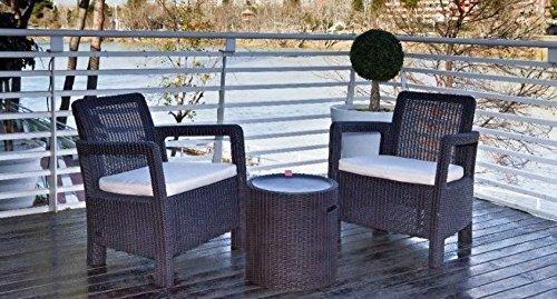 Keter -  Conjunto de terraza o balcón Tarifa Balcony con mesa nevera, Color marrón