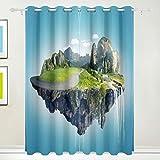 SURERUIM Juego de 2 Paneles de Cortinas Opacas,Isla Mágica Islas Flotantes Caída De Agua,Cortina de oscurecimiento con Aislamiento térmico para Sala de Estar,90x90 Pulgadas