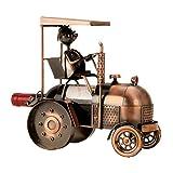Bouteille de vin moderne stand porte-bouteille tracteur fait de métal cuivre hauteur 27 cm