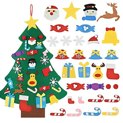 ZILONG Felt Christmas Tree,DIY Christmas Tree,with Magic Tape and 31pcs Ornaments,Children Gifts Wall Hanging Xmas Gifts,Handmade Christmas Tree Set for Kids Toddler Home Door Window Wall Decoration