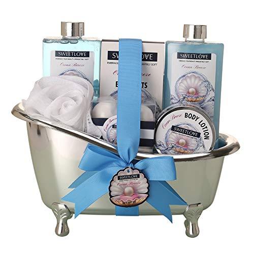 Regalo de spa para mujeres, juegos de regalo Sweetlove para ella, lujoso de 10 piezas, incluye baño de burbujas, baño Fizzer, loción y más, el mejor regalo para el día de la madre, cumpleaños, Navidad