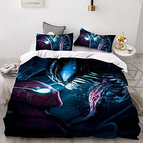 DWSM Marvel Avengers Alianza 3D Venom - Juego de funda nórdica y fundas de almohada, microfibra, suave y cómoda, universal en cualquier estación (16,135 x 200 cm)