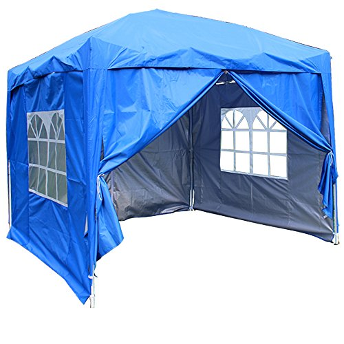 Greenbay Blue Heavy Duty Pop-up Gazebo Marquee Canopy with 4 Side Panels and Carrybag - 2m x 2m