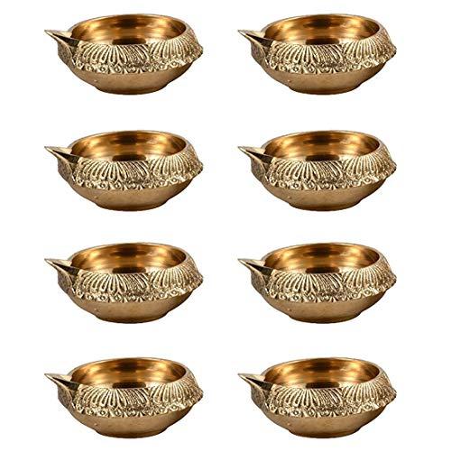 Handgefertigte indische Puja Messing-Öllampevon Hashcart –Diya-Öllampe mit Gravur im Dia-Design–6,3cm Gold