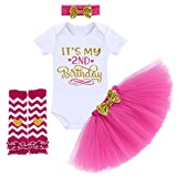 TTYAOVO Neugeborene Mädchen Es ist Mein 1. / 2. Geburtstag 4 Stück Outfits mit Romper+Tutu Kleid + Stirnband+ Leggings 2 Jahre Rose(2 Jahre)