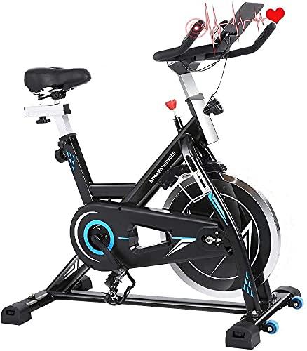 ANCHEER Bicicleta Estática Bicicleta de Fitness Estática de Ejercicio Hogar , Volante deInercia de 18 kg, Conexion con APP Pantalla LCD, Sensor de Impulsos, Sillín Ajustables, Carga Máxima: 120 kg