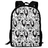 School Backpack Dogs Emoji Emotions Black And White Bookbag Casual Travel Bag For Teen Boys Girls