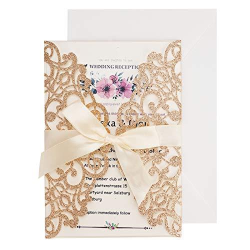 Hochzeitseinladung Hochzeit Einladungskarten Tri-Fold Hohl Lace Business Einladung , 20 Stück Hochzeitskarte Glückwunschkarte Grußkarte Einladungkarte, auch für Taufe,Geburtstag,Kommunion (Gold)