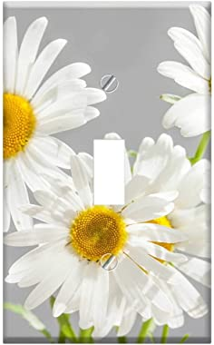 Switch Plate Single Toggle - Chamomile Flowers Bloom White Daisies Yellow Center