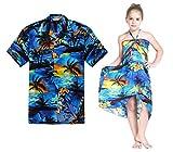 Combinación Hawaiana Luau Outfit Hombre Camisa Chica Vestido en Puesta de Sol Azul Hombre XL...